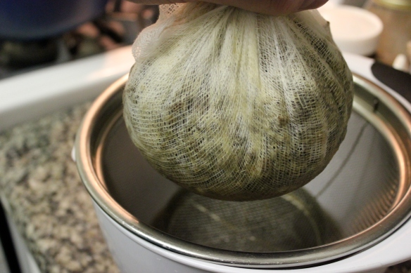 mushroom ketchup squeezing of cheesecloth