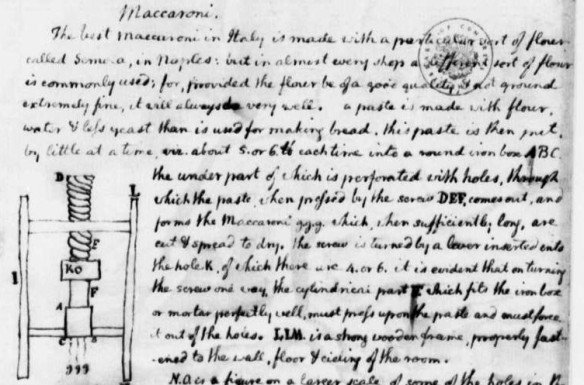 A portion of Jefferson's notes for a macaroni press.