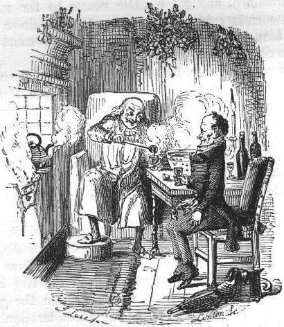 Scrooge and Bob Cratchit share a Christmas Day toast with mulled wine. (Woodcut by John Leech (1809-1870), from A Christmas Carol by Charles Dickens.)
